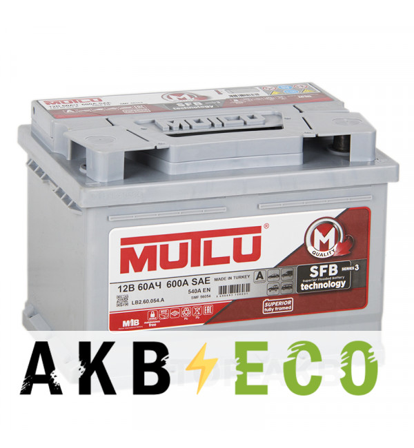 Автомобильный аккумулятор Mutlu 60R низкий 540A 242x175x175