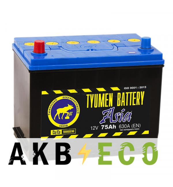 Автомобильный аккумулятор Tyumen Battery Asia 75 Ач прям. пол. 630A (266x173x225)