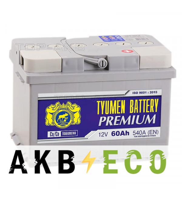 Автомобильный аккумулятор Tyumen Battery Premium 60 Ач обр.пол. низкий 540A (242x175x175)