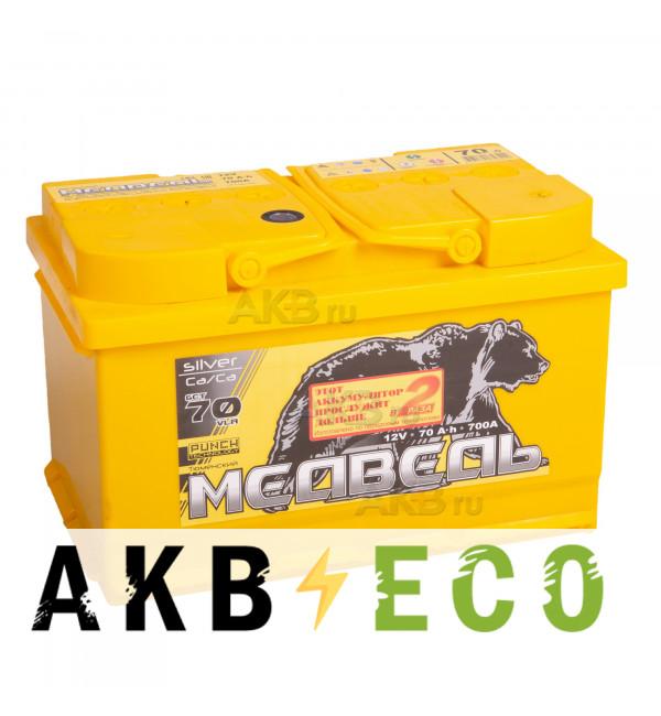 Автомобильный аккумулятор Тюменский медведь Сa/Сa 70 Ач обр. пол. 700А (278x175x175) Silver низкий