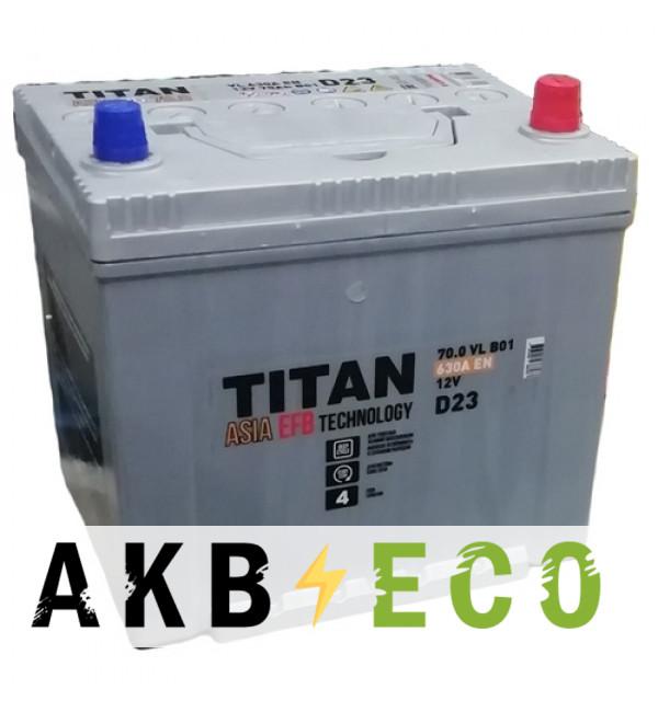 Автомобильный аккумулятор Titan Asia EFB 70R (630А 230x173x225)