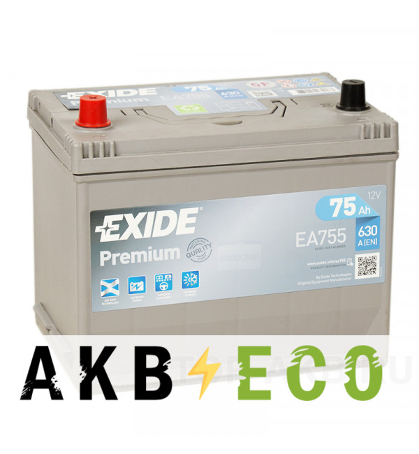 Автомобильный аккумулятор Exide Premium 75L (630А 261x173x225) EA755