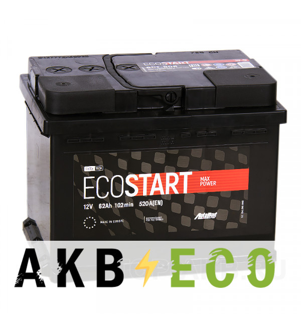 Автомобильный аккумулятор Ecostart 62R (520А 242x175x190)