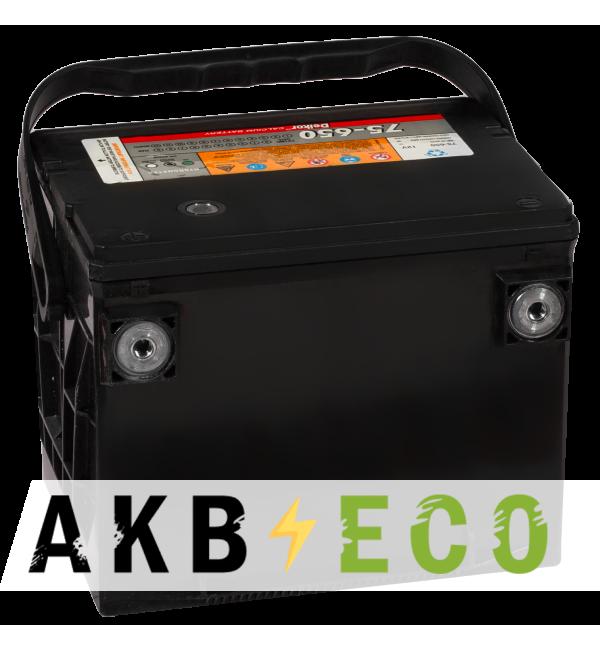 Автомобильный аккумулятор Delkor 75-650 бок. кл. (75L 650A 237x178x184)