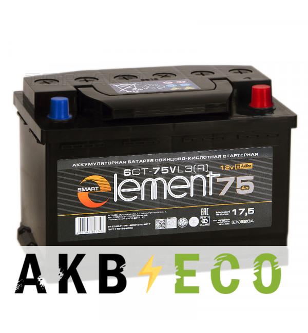 Автомобильный аккумулятор Smart Element 75R 600A 278x175x190
