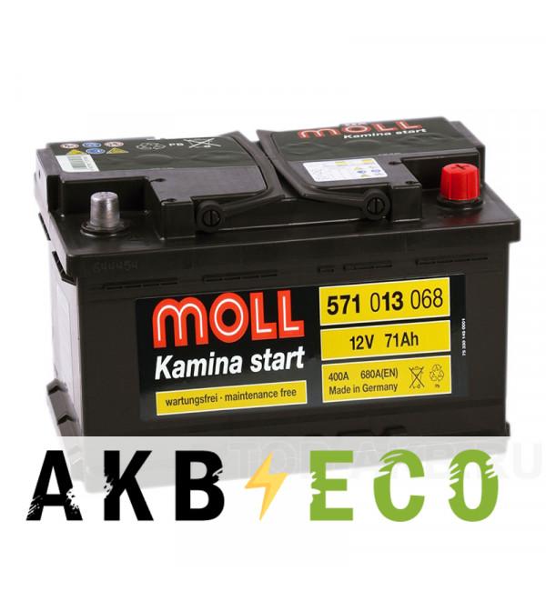 Автомобильный аккумулятор Moll Kamina Start 71R низкий 680A (278x175x175)