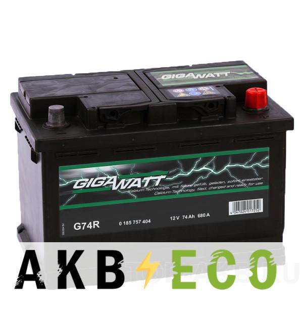 Автомобильный аккумулятор Gigawatt 74R 680A (278x175x190)