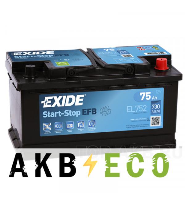 Автомобильный аккумулятор Exide Start-Stop EFB 75R (730А 315x175x175) EL752