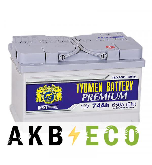 Автомобильный аккумулятор Tyumen Battery Premium 74 Ач обр. пол. низкий 650A (278x175x175)