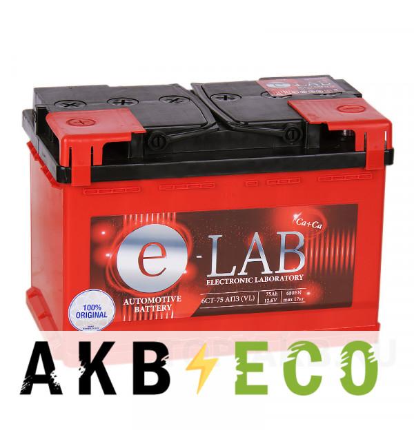Автомобильный аккумулятор E-LAB 75L 680A (278x175x190)