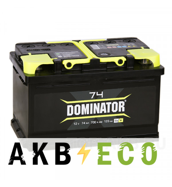 Автомобильный аккумулятор Dominator 74R низкий 700А 278x175x175