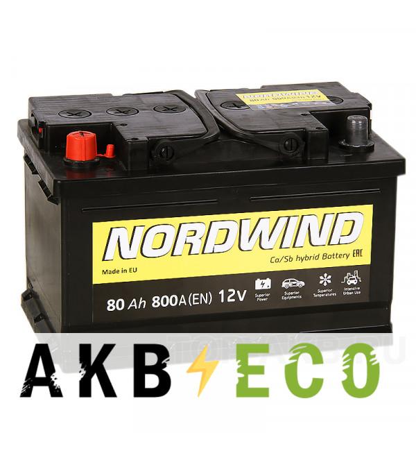 Автомобильный аккумулятор Nordwind 80L 800А 278x175x175