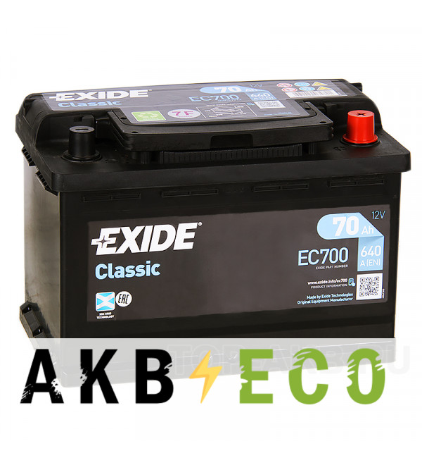 Автомобильный аккумулятор Exide Classic 70R 640A 278x175x190 EC700
