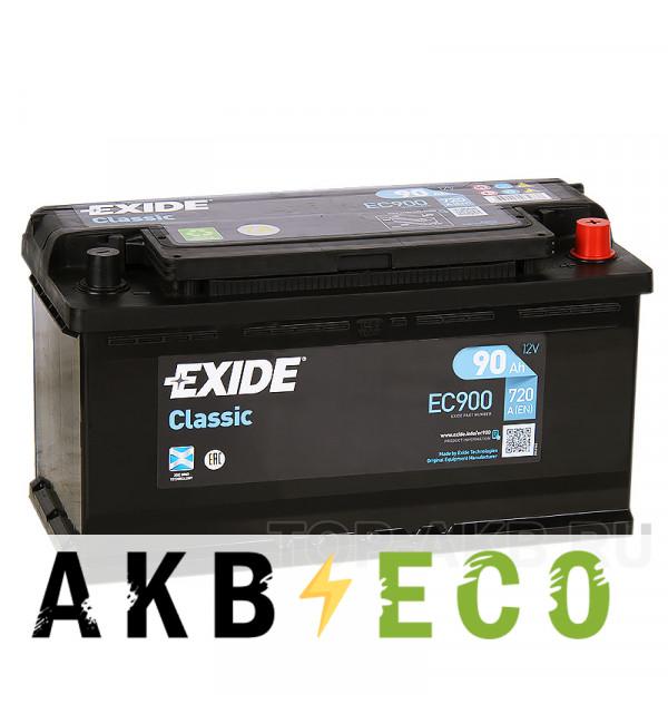 Автомобильный аккумулятор Exide Classic 90R 720A 353x175x190 EC900