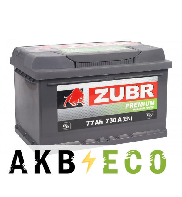 Автомобильный аккумулятор ZUBR Premium 77R 730A (278x175x175) низкий