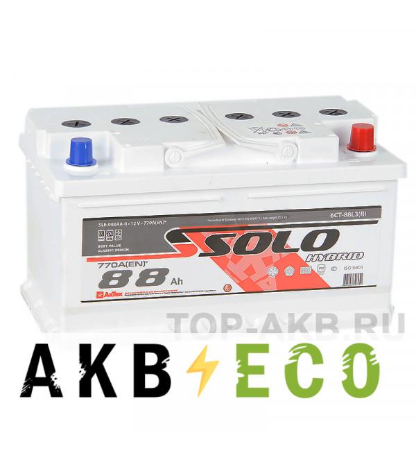 Автомобильный аккумулятор SOLO 88R низкий (770A 315x175x175)