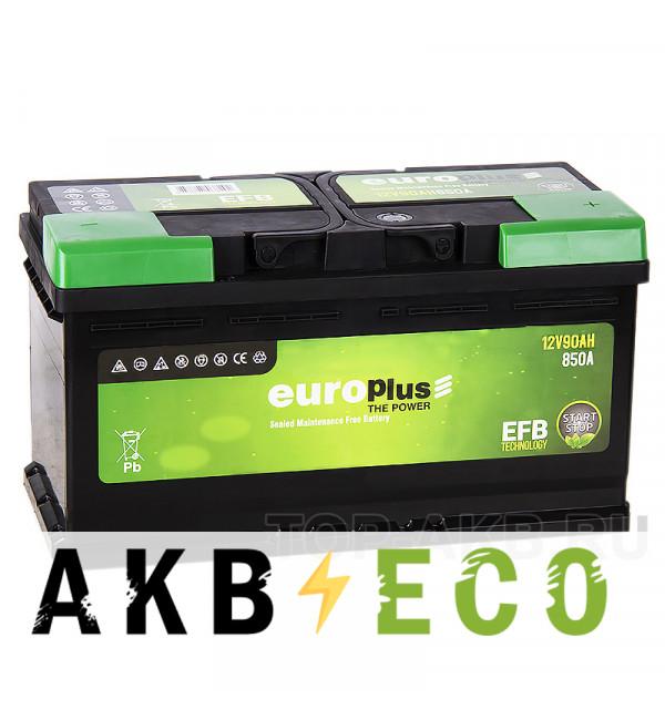 Автомобильный аккумулятор Europlus EFB Start-Stop 90R (850A 353x175x190)