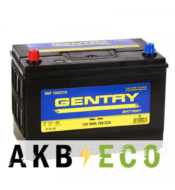 Автомобильный аккумулятор Gentry 105D31R (90L 780A 306x173x225)
