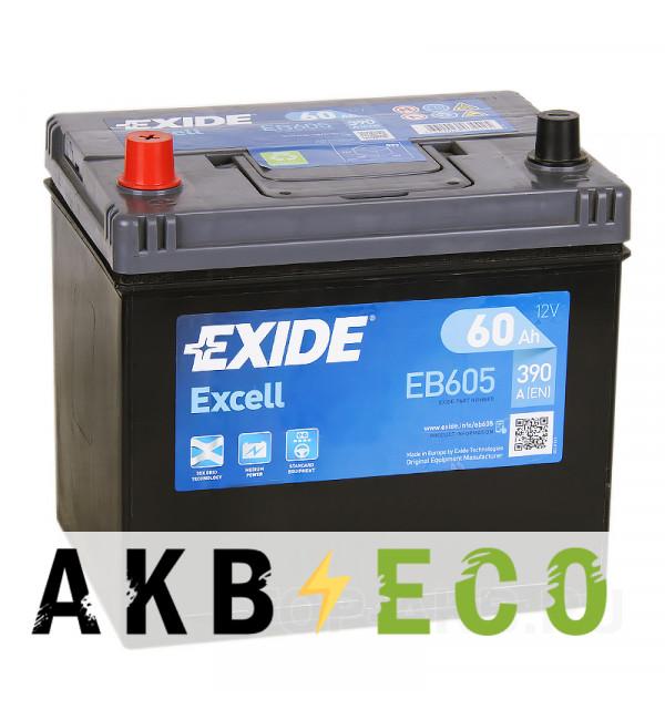Автомобильный аккумулятор Exide Excell 60L (390A 230x172x220) EB605