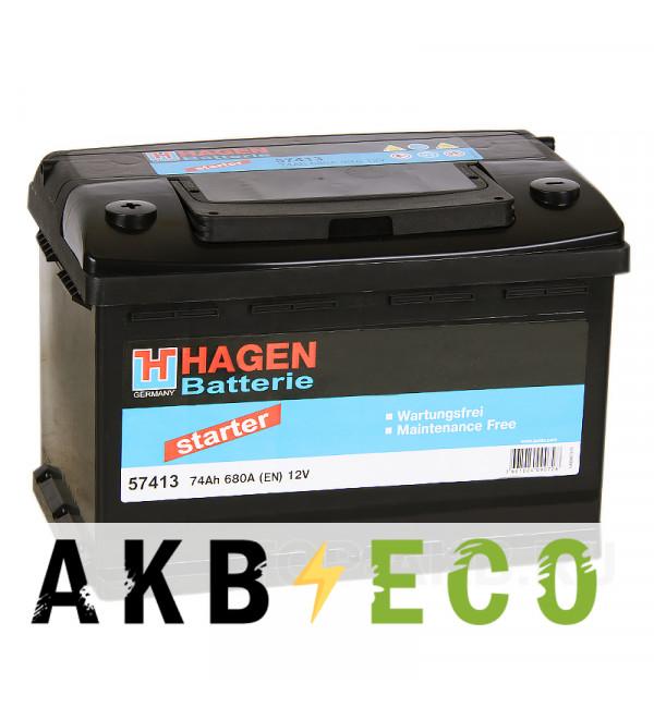 Автомобильный аккумулятор Hagen 57413 74L 680A 278x175x190