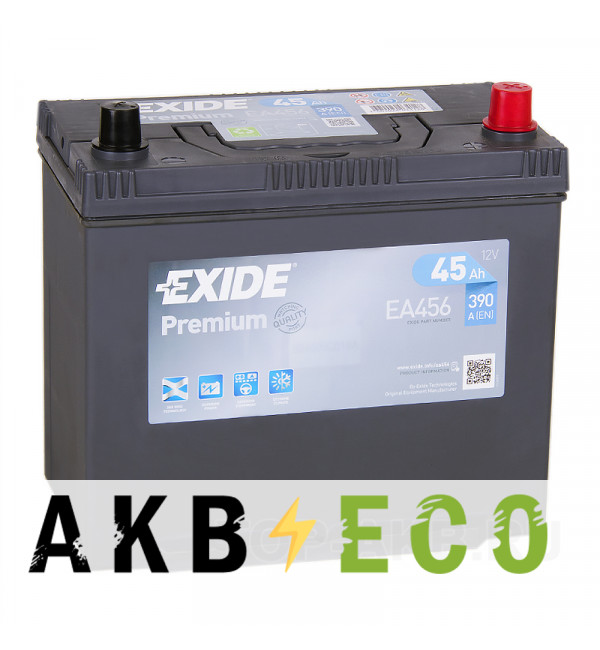 Автомобильный аккумулятор Exide Premium 45R (390A 238x129x227) EA456