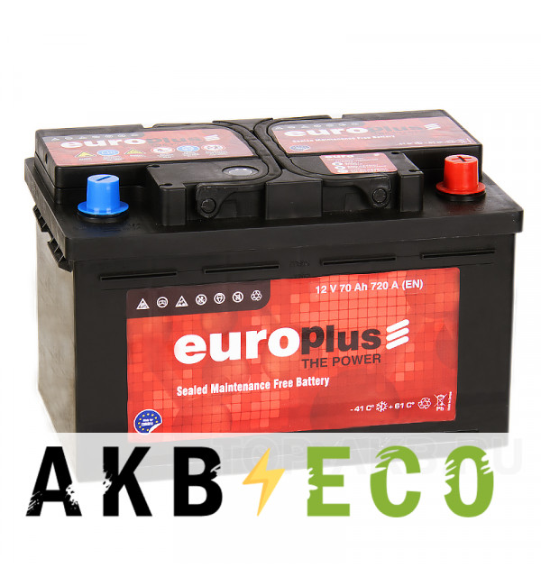 Автомобильный аккумулятор Europlus 70R низкий (720A 278x175x175)