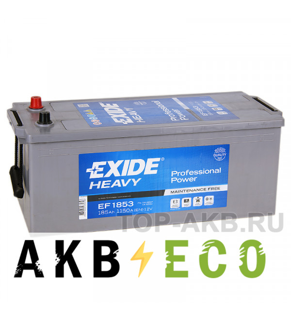 Автомобильный аккумулятор Exide Heavy Professional 185 А·ч евро 1150А (513x223x223) EF1853