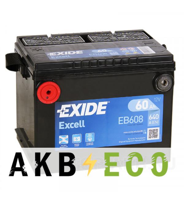 Автомобильный аккумулятор Exide Excell 60L (640A 230x180x184) EB608