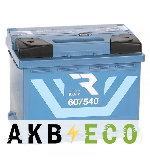 Автомобильный аккумулятор RAZ 60L 540A 242x175x190