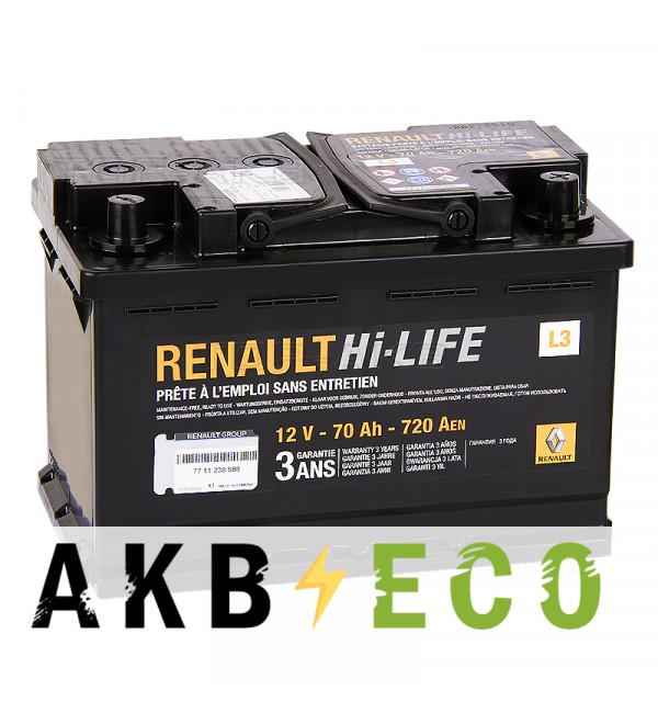 Автомобильный аккумулятор Renault Standart 70 Ач обратная пол. 720А (278x175x190) 7711 238 598