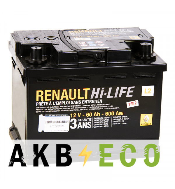 Автомобильный аккумулятор Renault Standart 60 Ач обратная пол. 600А (242x175x190) 77 11 238 597