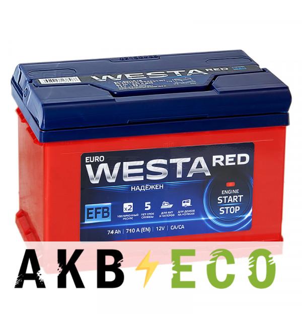 Автомобильный аккумулятор Westa RED EFB 74L 710A (278x175x190)