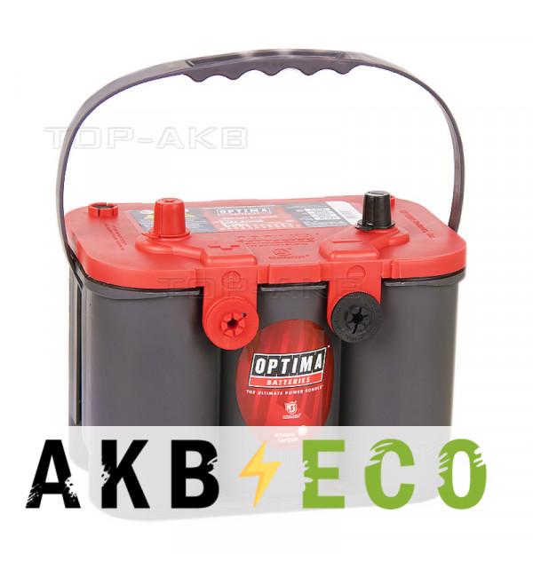 Автомобильный аккумулятор OPTIMA Red Top 50 Ач 815А (254x175x200) RT U 4.2 - 8004-250 - 4 клеммы