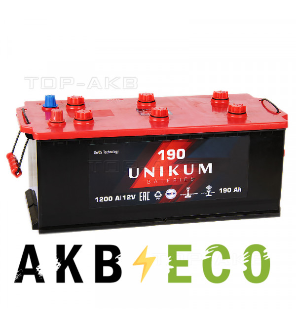 Автомобильный аккумулятор UNIKUM 190 рус 1200A (524x239x240)