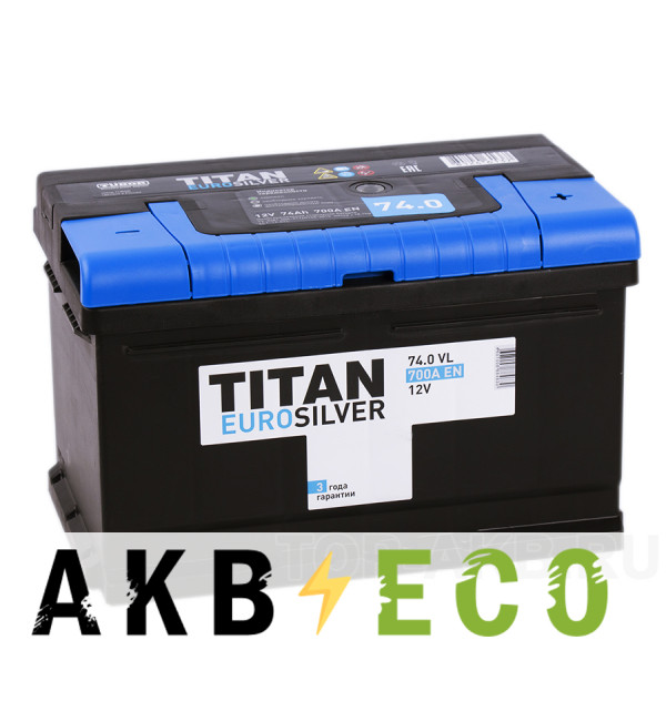 Автомобильный аккумулятор Titan Euro Silver 74R низкий 700A 278x175x175