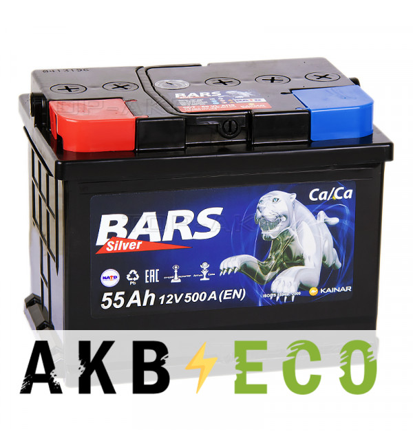 Автомобильный аккумулятор Bars 55L 500A 242x175x190