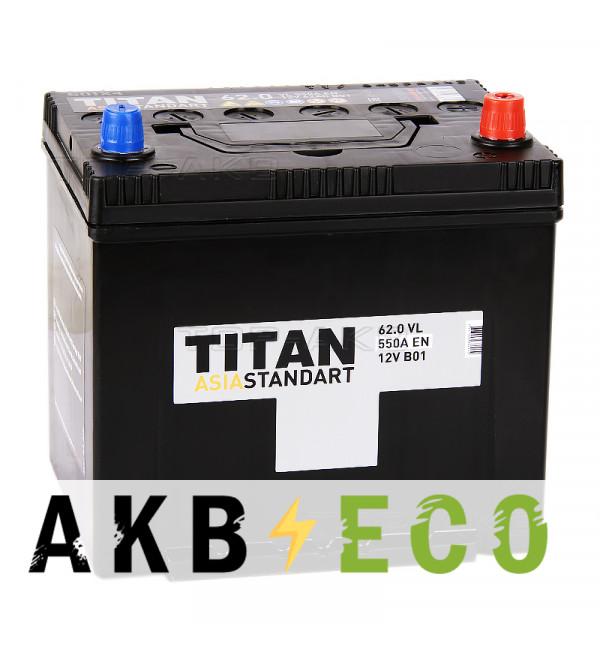 Автомобильный аккумулятор Titan Asia Standart 62R (550А 230x173x225)