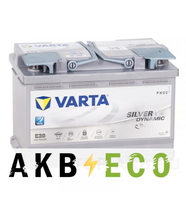 Автомобильный аккумулятор Varta Silver Dynamic AGM E39 70R (Start-Stop) 760A 278x175x190