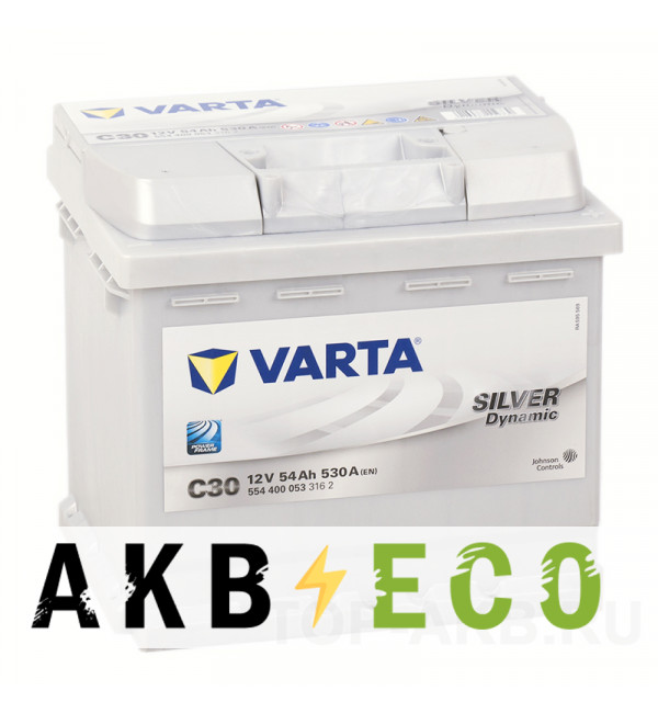 Автомобильный аккумулятор Varta Silver Dynamic C30 54R 530A 207x175x190