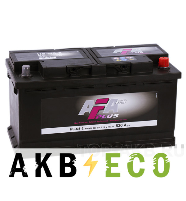 Автомобильный аккумулятор AFA Plus 100R 830A (353x175x190) HS-N5-2
