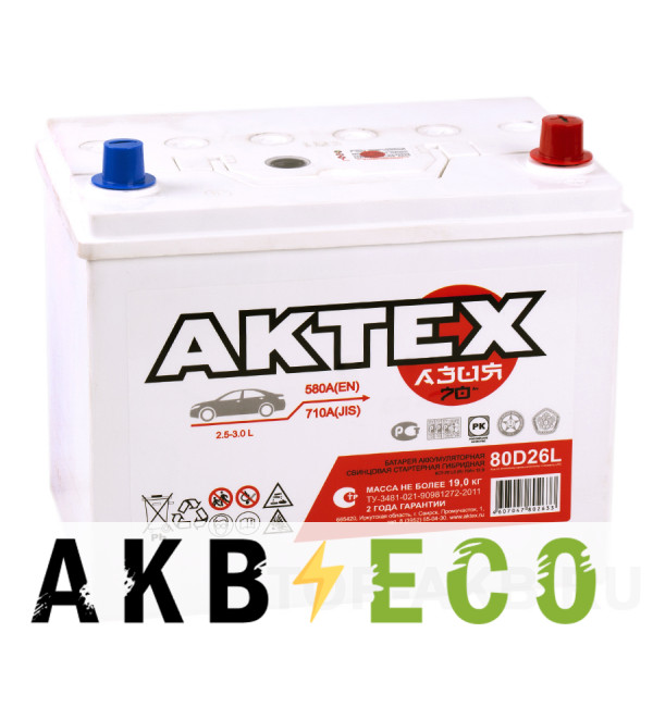 Автомобильный аккумулятор Актех Азия 80D26L (70R 580A 260x173x225)