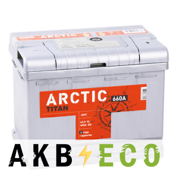 Автомобильный аккумулятор Titan Arctic 62R 660A 242x175x190