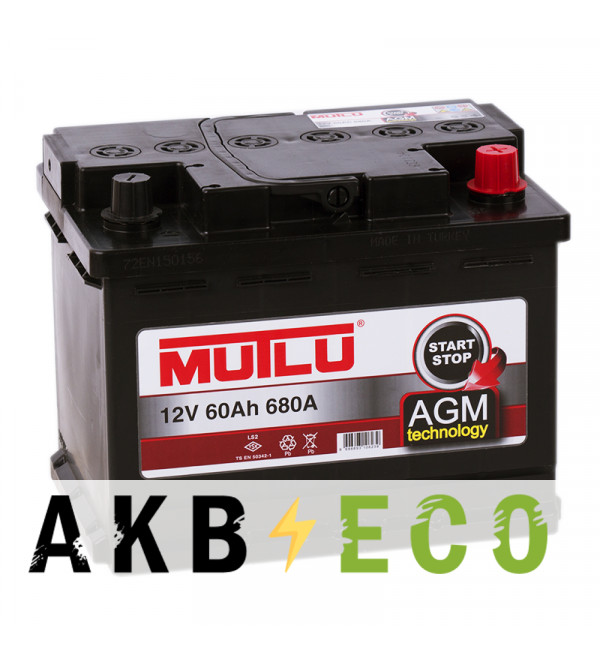 Автомобильный аккумулятор Mutlu AGM Start-Stop 60R 680A 242x175x190 гелевый
