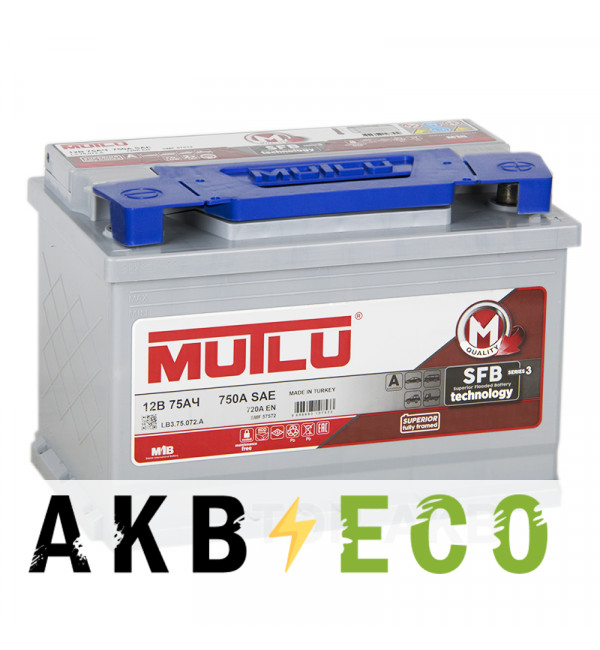 Автомобильный аккумулятор Mutlu Mega Calcium 75R 720A 278x175x190