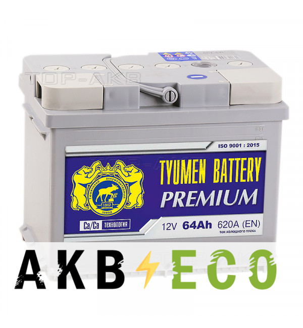 Автомобильный аккумулятор Tyumen Battery Premium 64 Ач прям. пол. 620A (242x175x190)