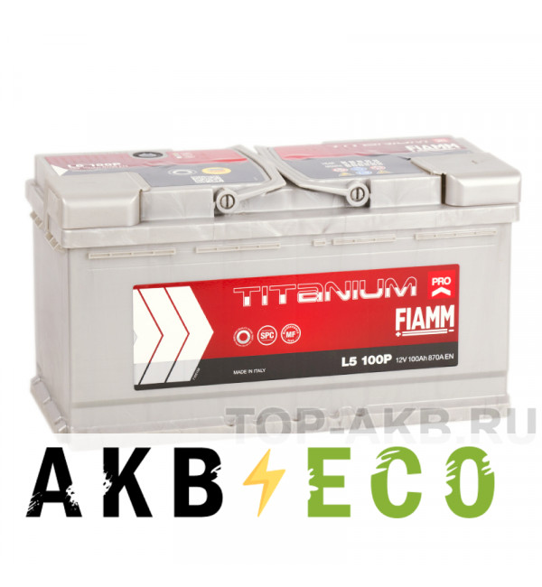 Автомобильный аккумулятор Fiamm Titanium Pro 100R 870A (353x175x190) L5 100P