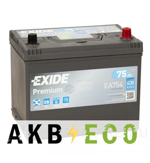 Автомобильный аккумулятор Exide Premium 75R (630А 261x173x225) EA754