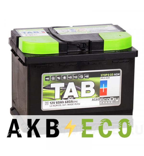 Автомобильный аккумулятор Tab AGM Stop-n-Go 60R (680A 242x175x190) 213060