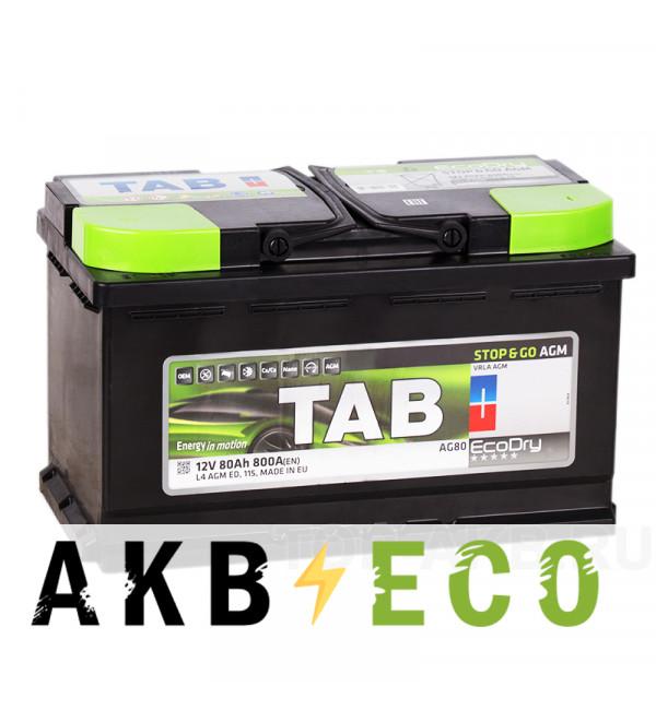 Автомобильный аккумулятор Tab AGM Stop-n-Go 80R (800A 315x175x190) 213080