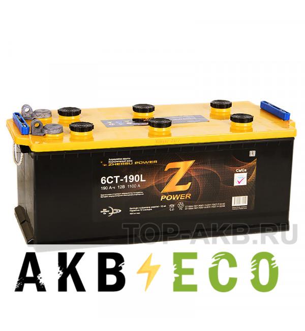 Грузовой аккумулятор Z-Power 190 евро (клеммы под болт) 1100А 516x223x223